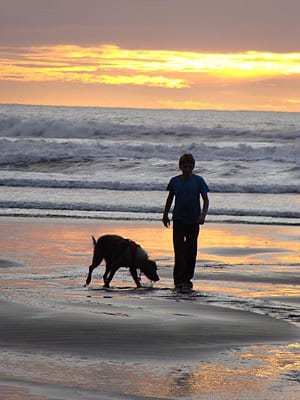 Boy and service dog labradoodle at sunset on the oregon coast